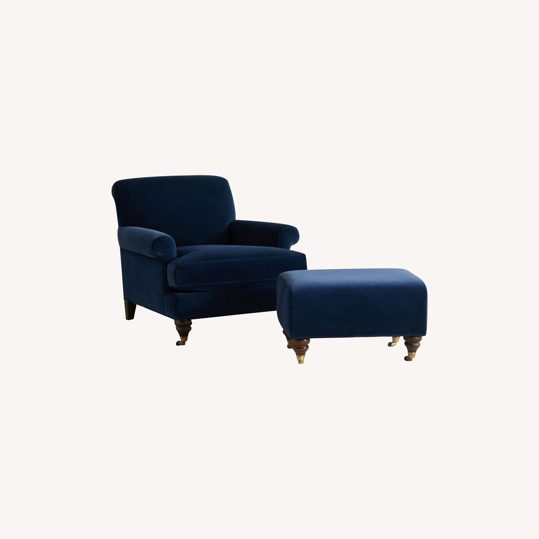 Anthropologie Velvet Willoughby Chair & Ottoman - image-0