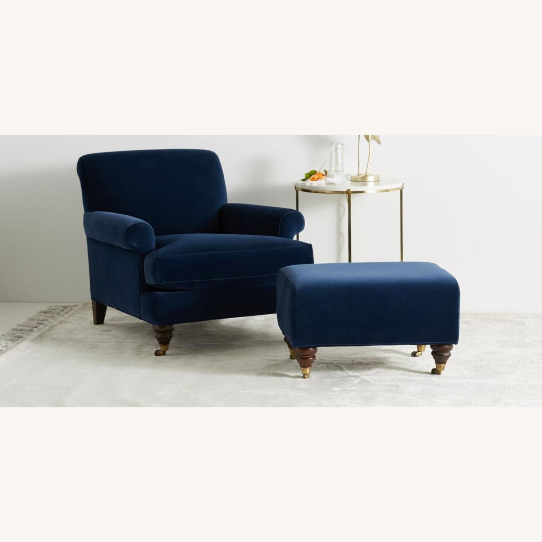 Anthropologie Velvet Willoughby Chair & Ottoman - image-2