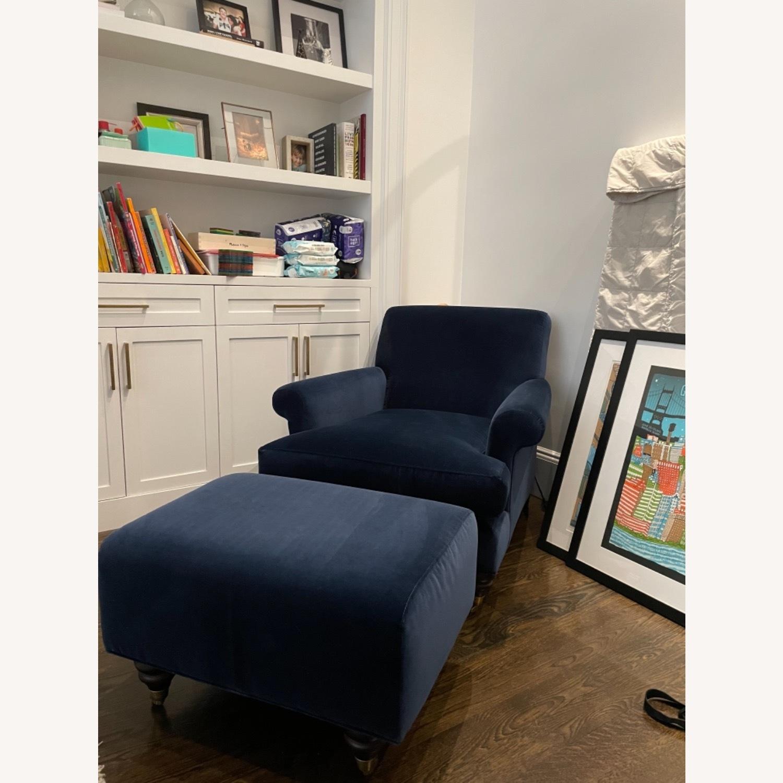 Anthropologie Velvet Willoughby Chair & Ottoman - image-4