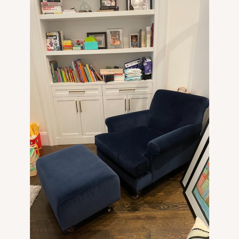 Anthropologie Velvet Willoughby Chair & Ottoman - image-6