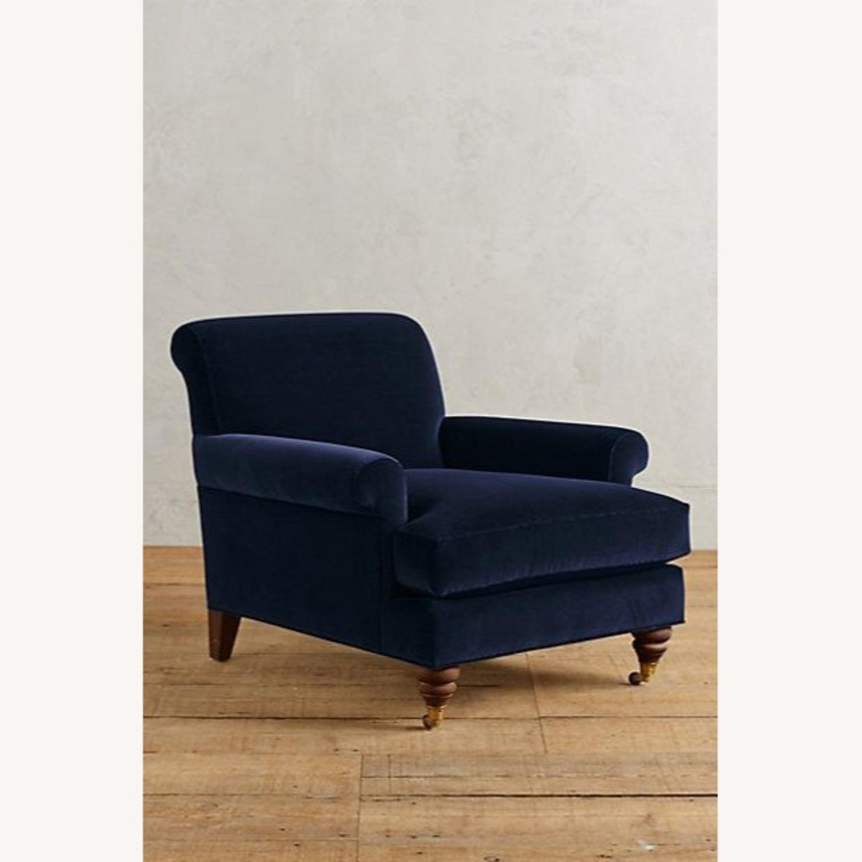 Anthropologie Velvet Willoughby Chair & Ottoman - image-3