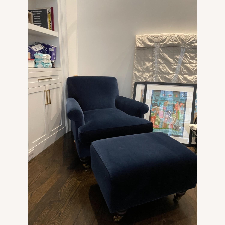 Anthropologie Velvet Willoughby Chair & Ottoman - image-5