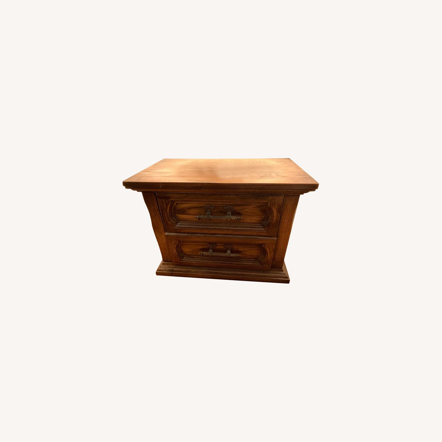 Vintage Solid Wood Side Table with 2 Drawers - image-0