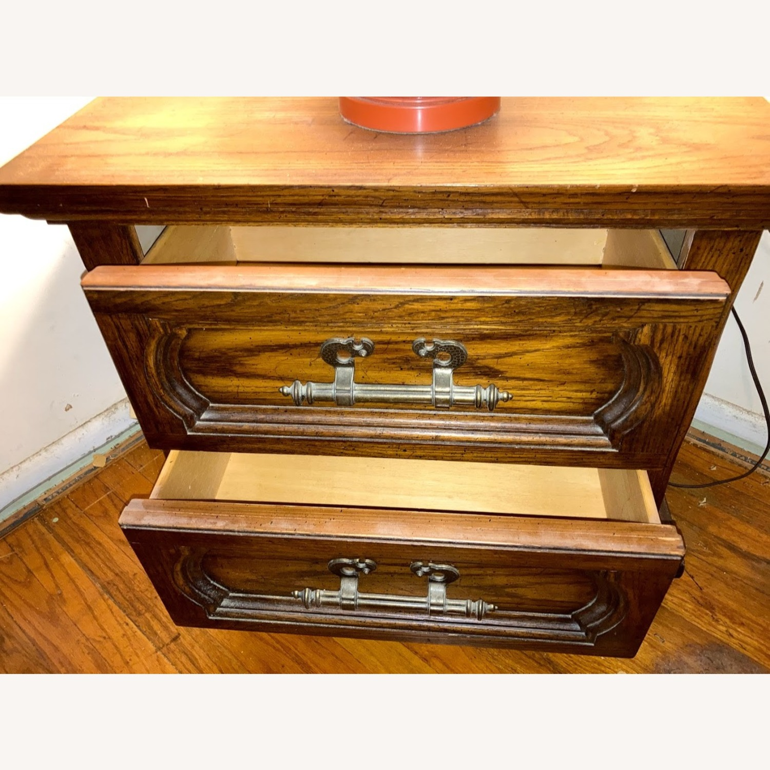 Vintage Solid Wood Side Table with 2 Drawers - image-4