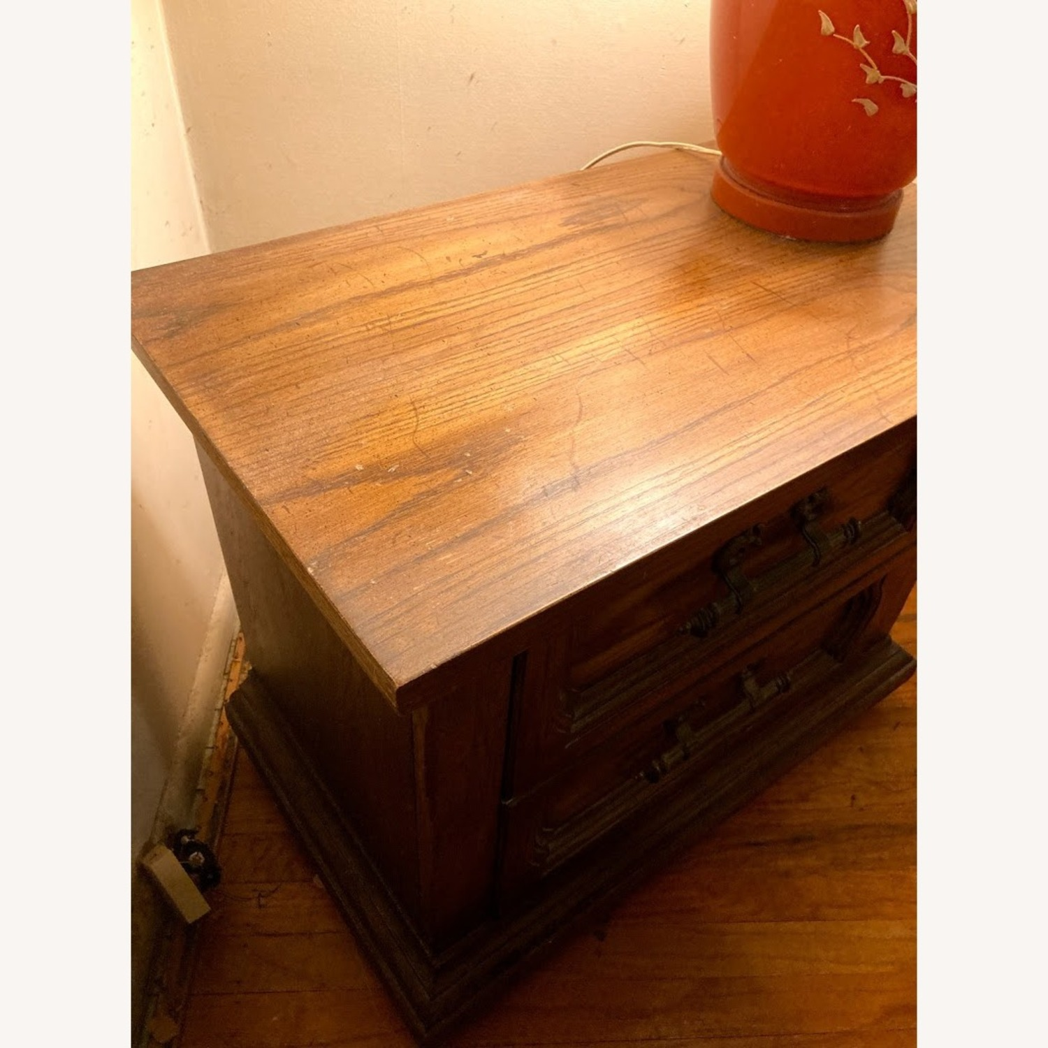 Vintage Solid Wood Side Table with 2 Drawers - image-2
