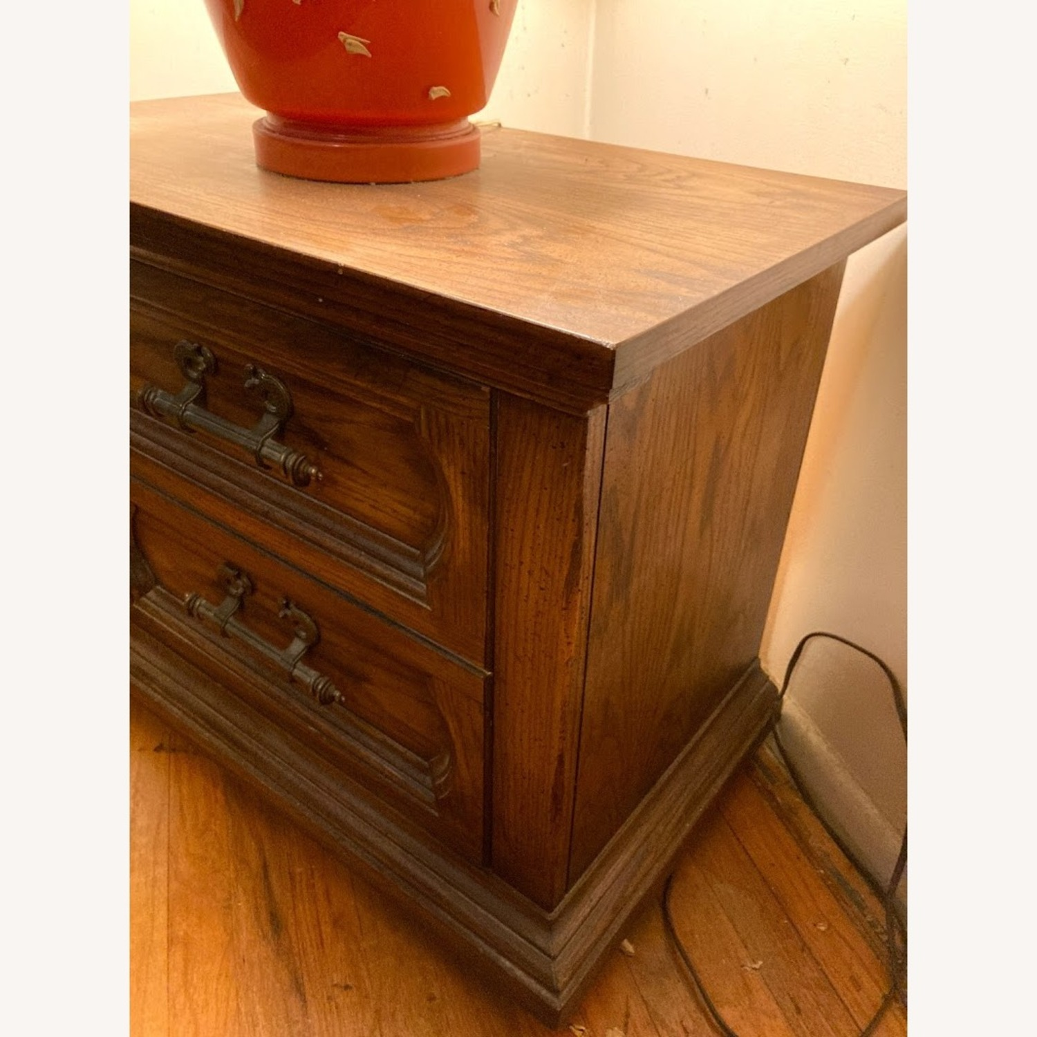 Vintage Solid Wood Side Table with 2 Drawers - image-3