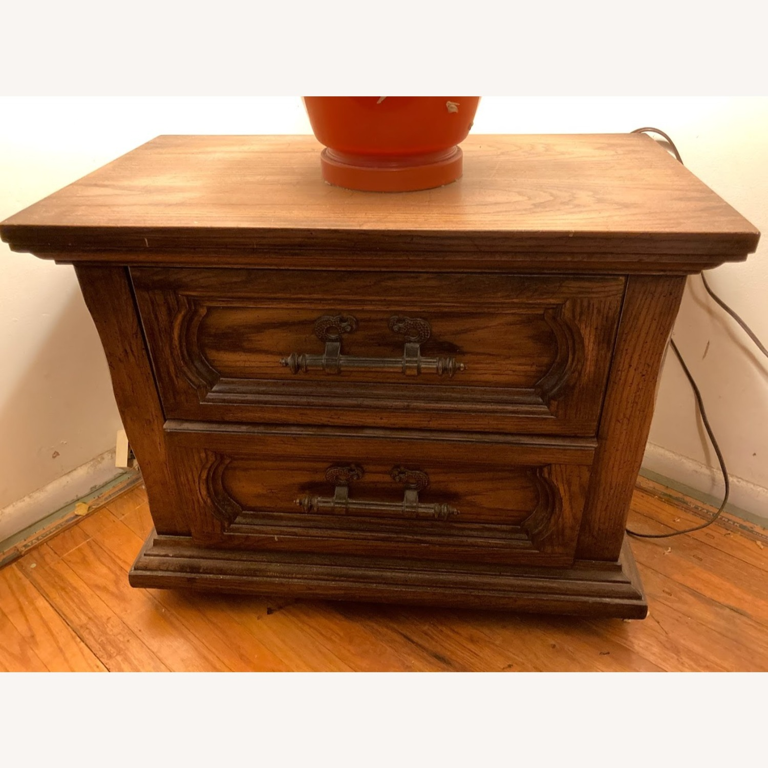 Vintage Solid Wood Side Table with 2 Drawers - image-1