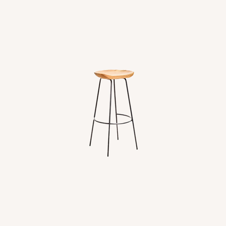 Wood Seat Metal Leg Counter Stool - image-0