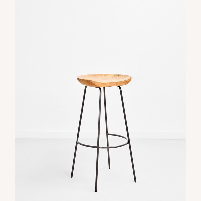 Wood Seat Metal Leg Counter Stool - image-1