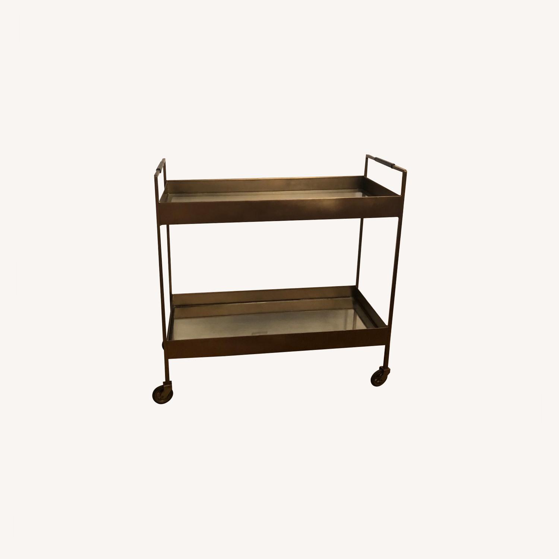Crate & Barrel Libations Antique Brass Bar Cart - image-0