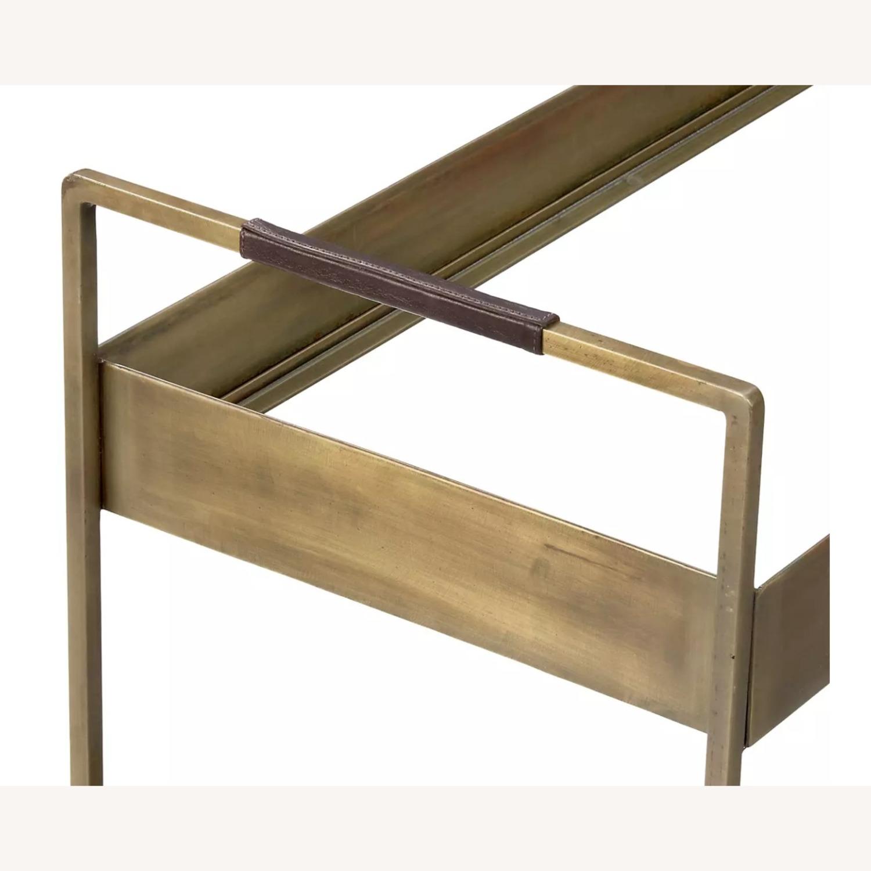 Crate & Barrel Libations Antique Brass Bar Cart - image-3