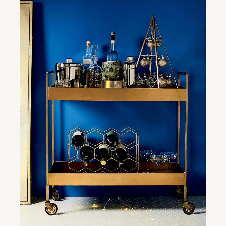 Crate & Barrel Libations Antique Brass Bar Cart - image-1