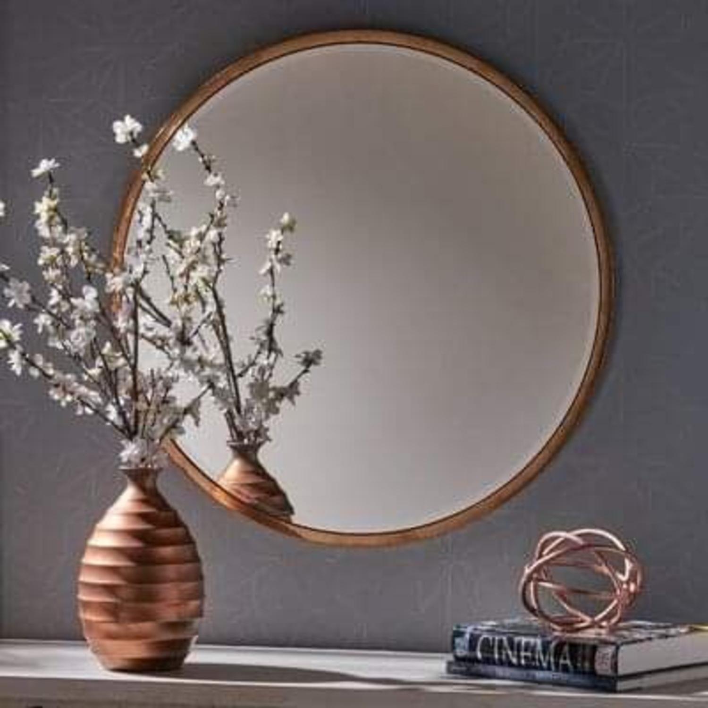 Round Metal Framed Mirror (Rose Gold) - image-4