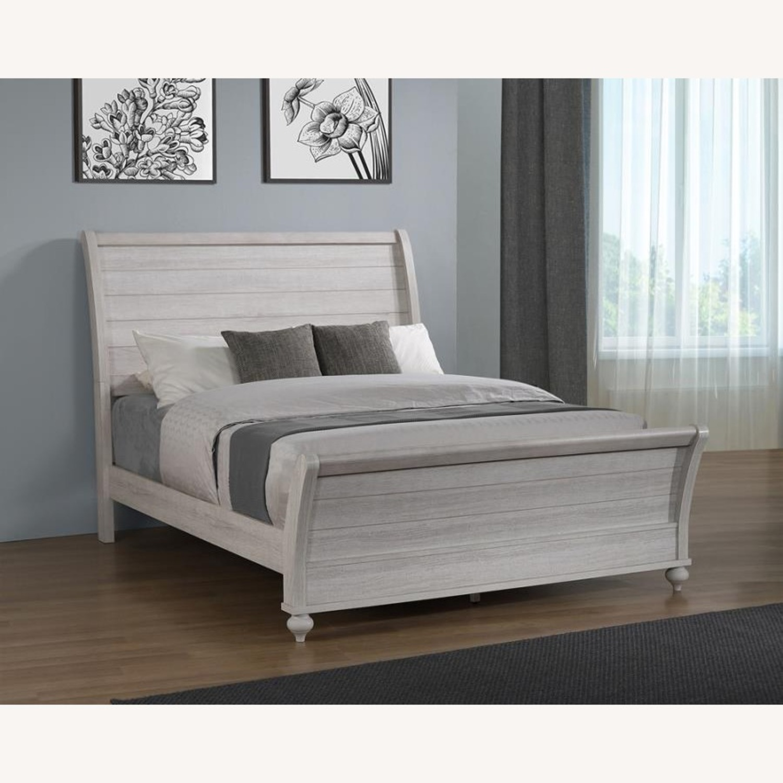 King Bed In Ash Brown & Vintage Linen Finish - image-5
