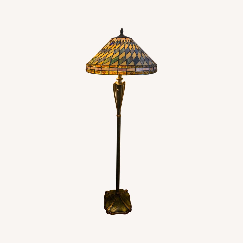 "Stained Glass - Art Deco Quoziel 60"" Floor Lamp - image-0"