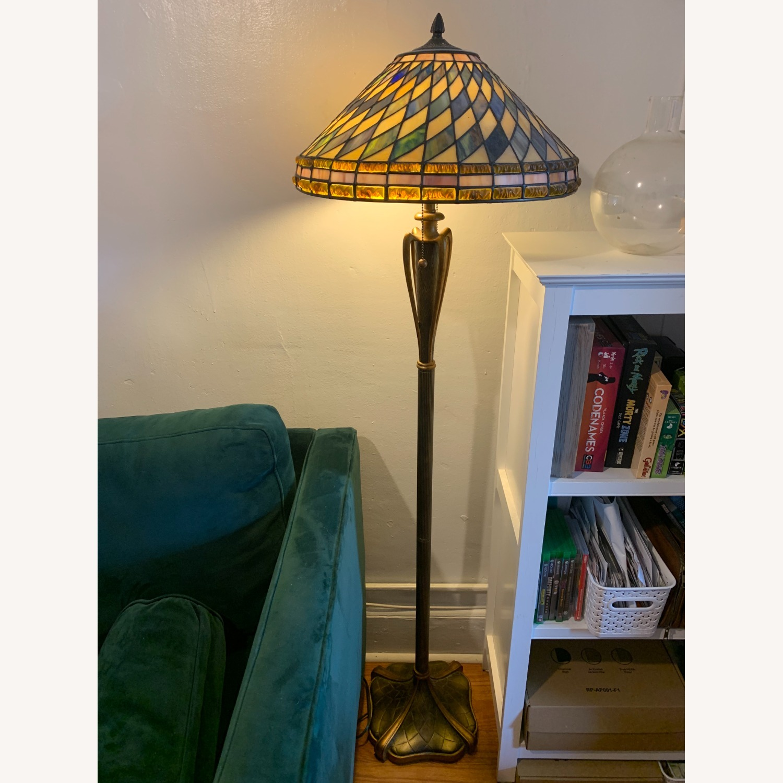 "Stained Glass - Art Deco Quoziel 60"" Floor Lamp - image-1"