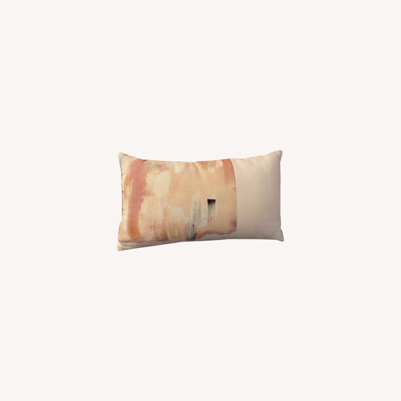 West Elm Painted Decorative Pillow w Insert - image-0