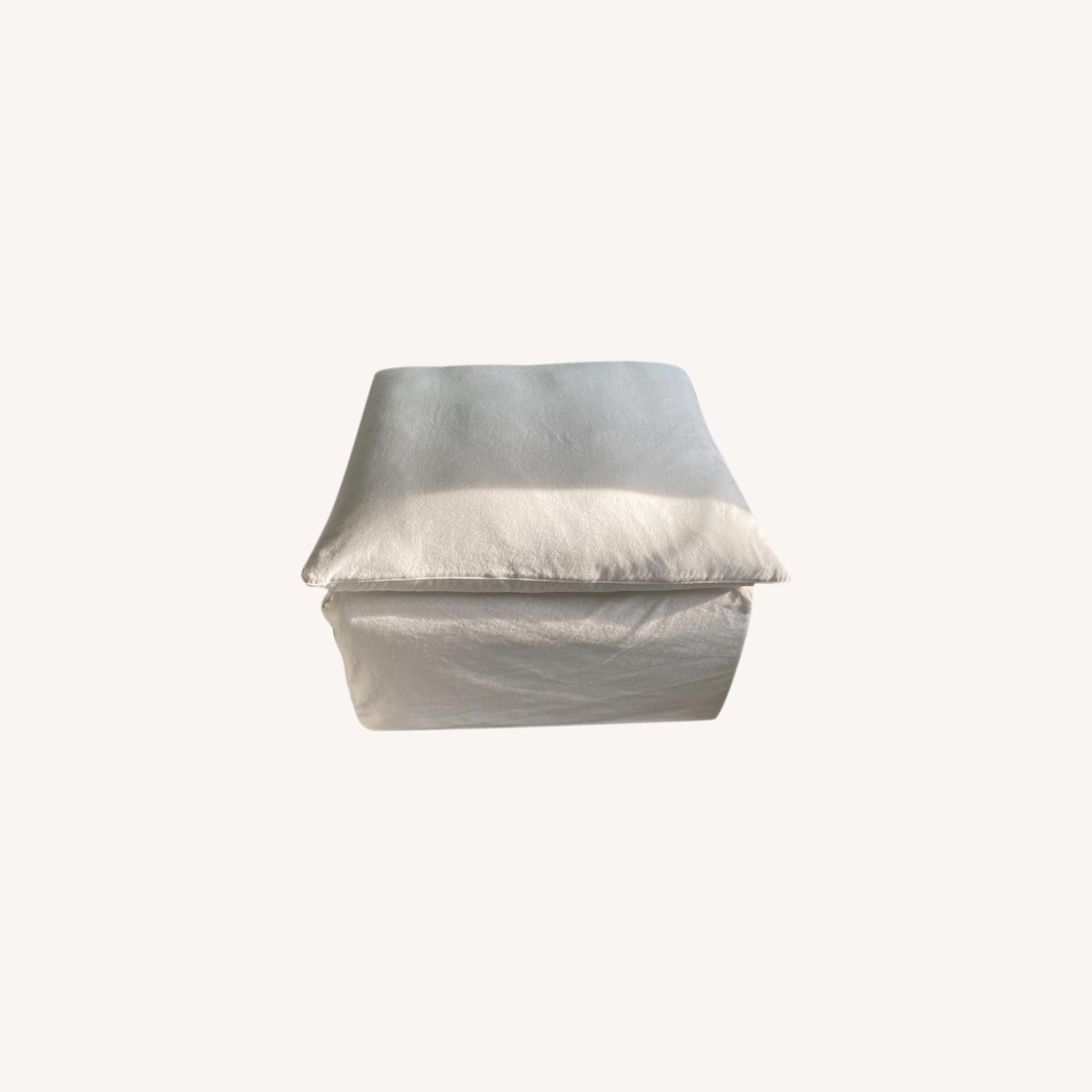 Crate & Barrel Ever Slipcovered Ottoman - image-0
