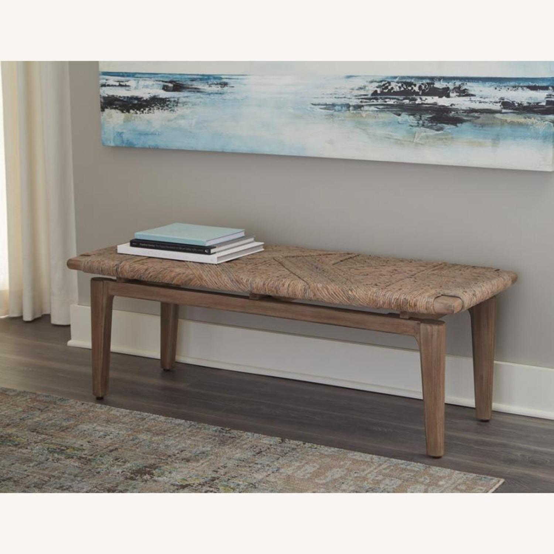 Bench In Sandstone Finish W/ Floating Wood Base - image-1