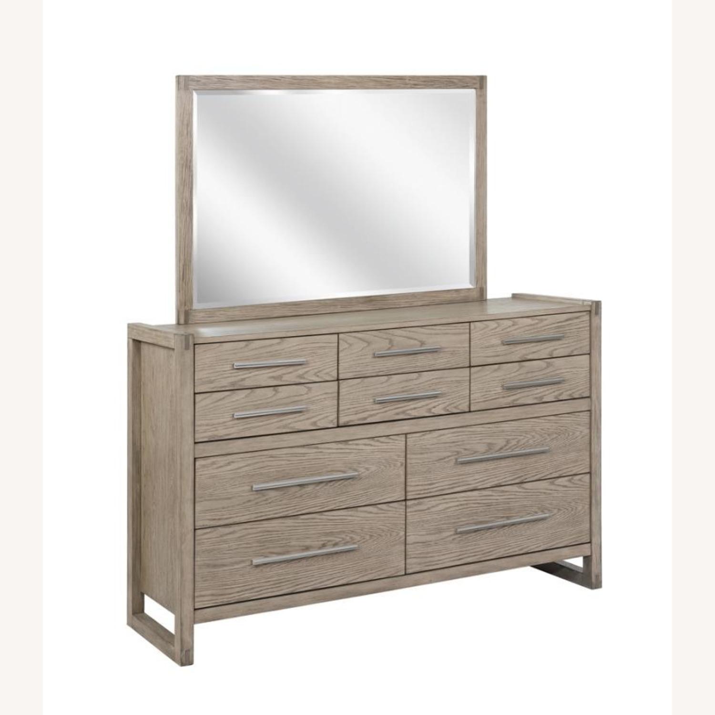 Modern Mirror In Grey Oak Finish - image-1