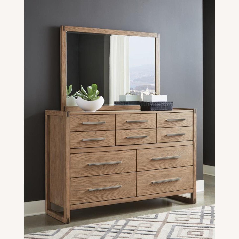 Modern Mirror In Grey Oak Finish - image-3
