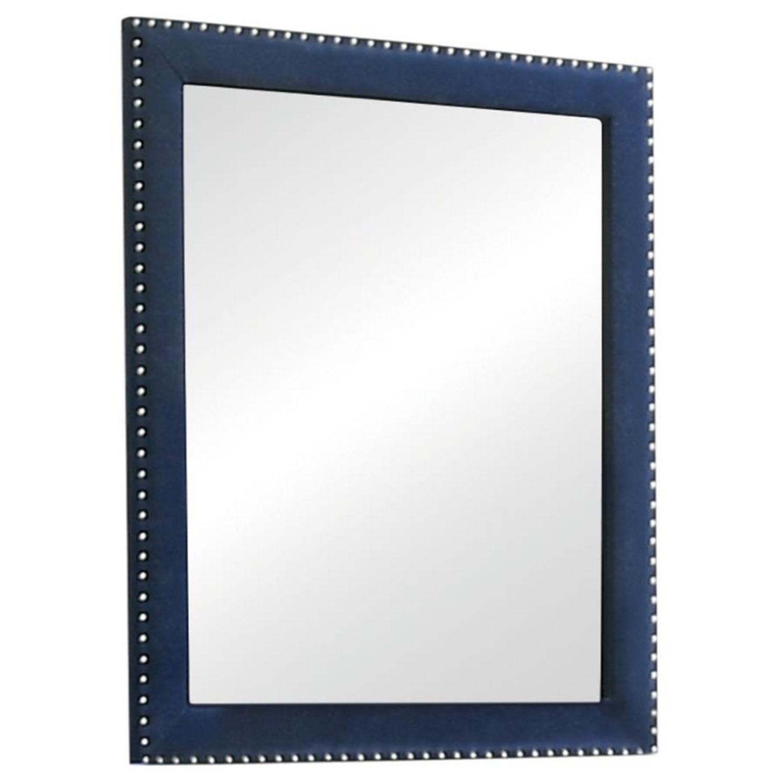 Mirror In Pacific Blue Velvet Frame Finish - image-0