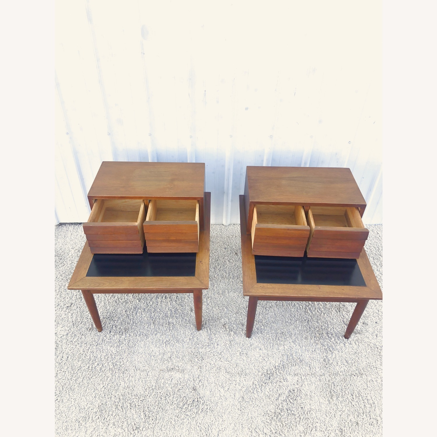Pair Two Drawer MCM End Tables by Martinsvlle - image-11