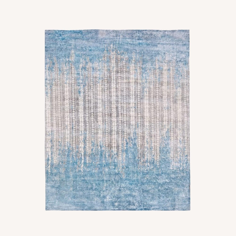 West Elm Echo Print Rug, Dusty Blue, 5'x8' - image-0
