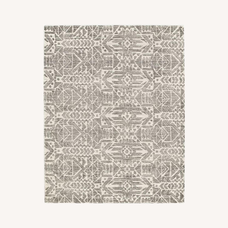 West Elm Hieroglyph Print Wool Rug, Slate, 5'x8' - image-0