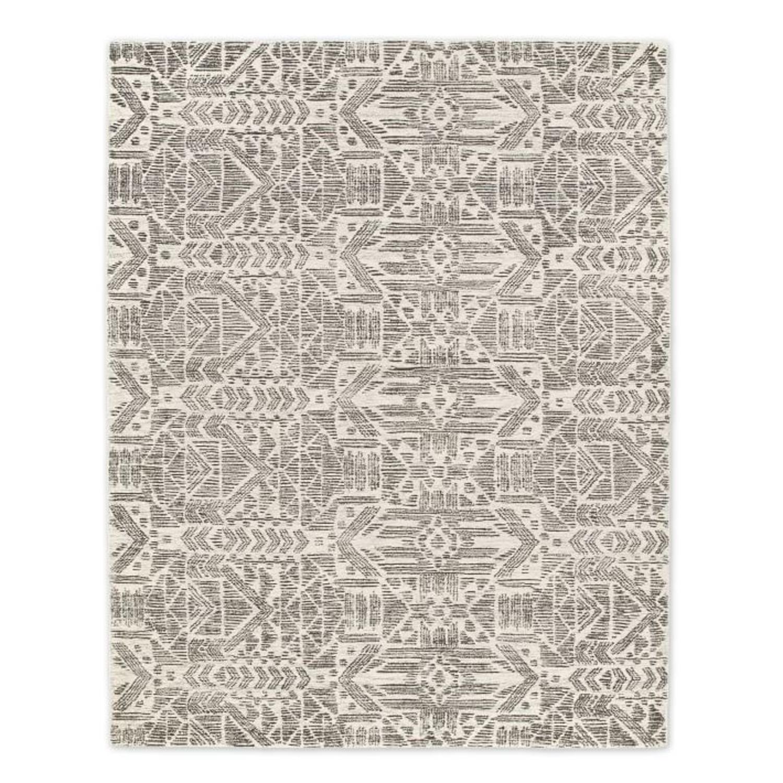 West Elm Hieroglyph Print Wool Rug, Slate, 5'x8' - image-3