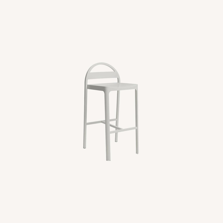 West Elm Gable Metal Barstool, Aluminum, Oyster - image-0