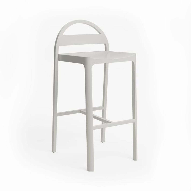 West Elm Gable Metal Barstool, Aluminum, Oyster - image-3