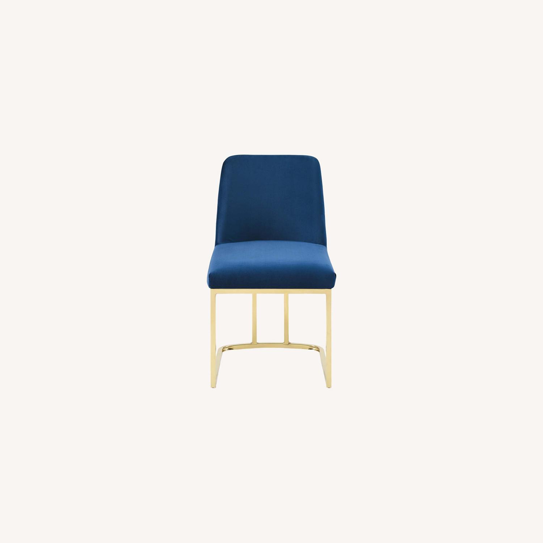 Dining Chair In Navy Velvet & Gold Base - image-8