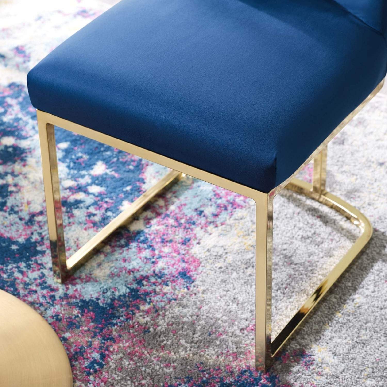 Dining Chair In Navy Velvet & Gold Base - image-5