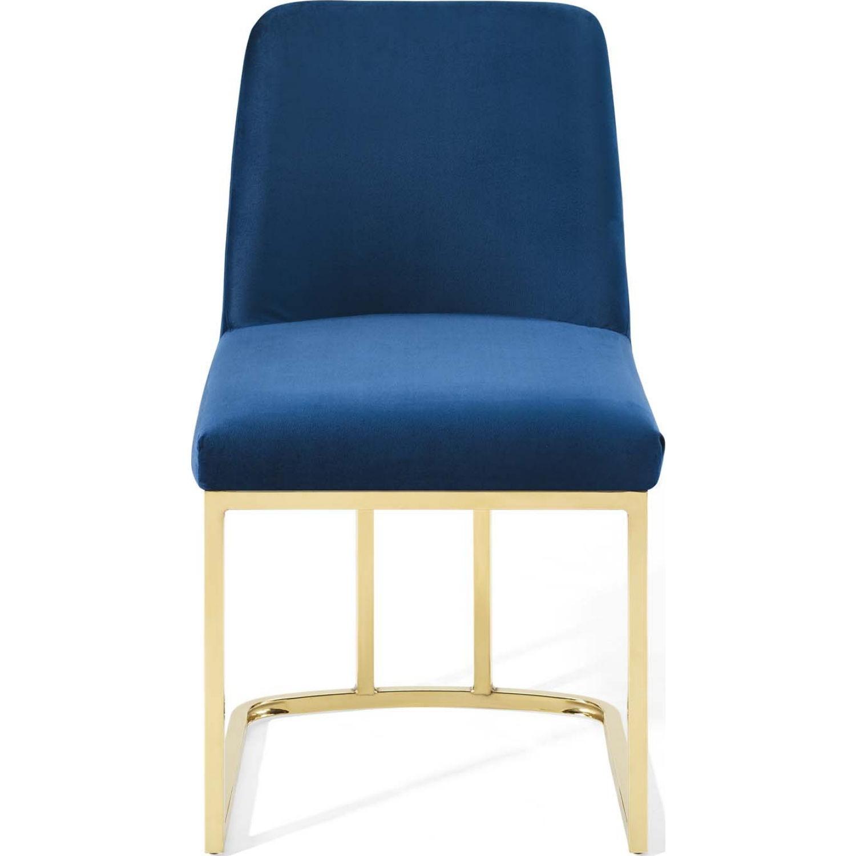 Dining Chair In Navy Velvet & Gold Base - image-3