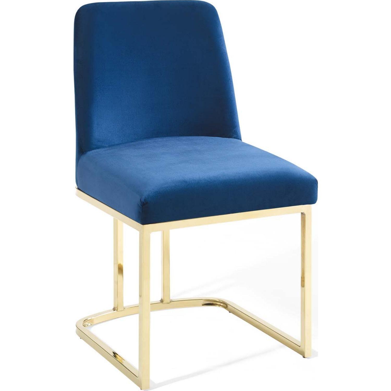 Dining Chair In Navy Velvet & Gold Base - image-0