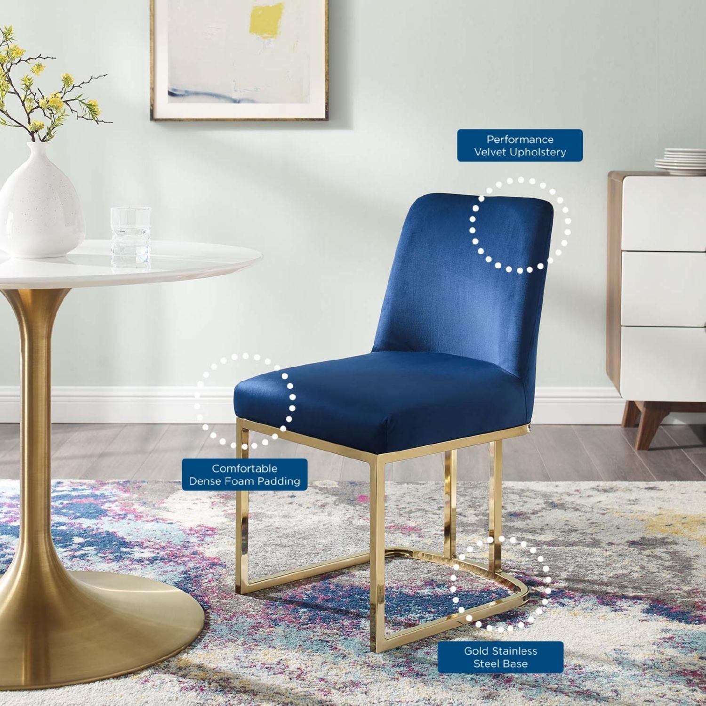 Dining Chair In Navy Velvet & Gold Base - image-6