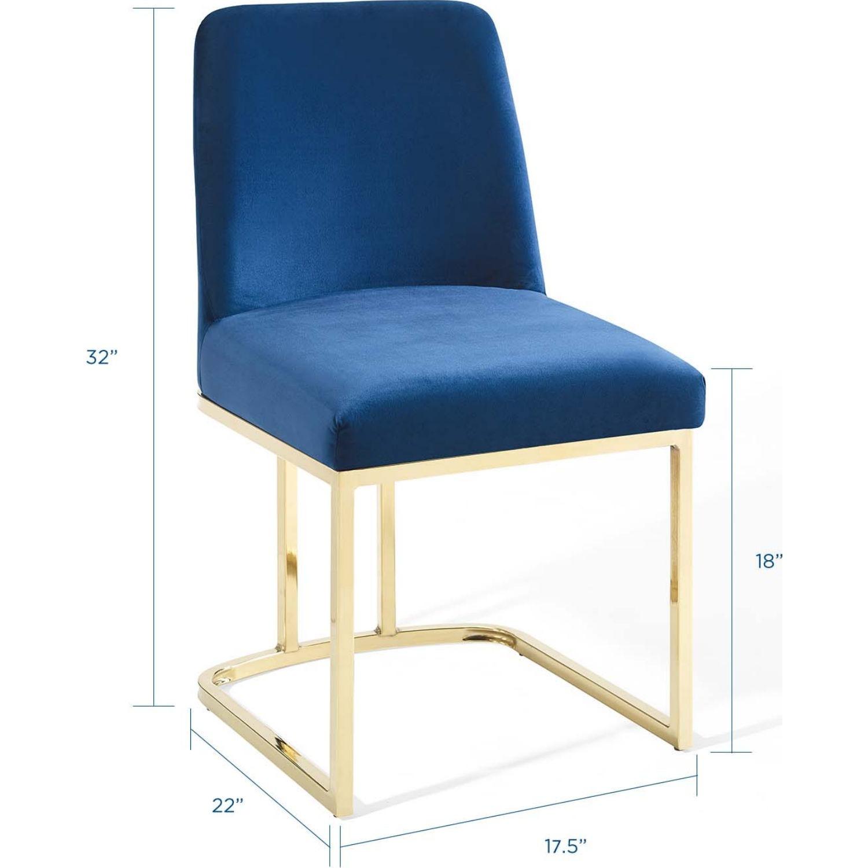 Dining Chair In Navy Velvet & Gold Base - image-7