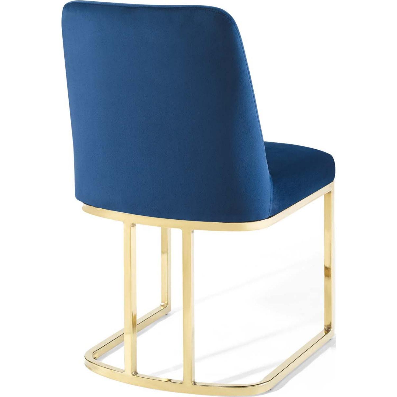 Dining Chair In Navy Velvet & Gold Base - image-2