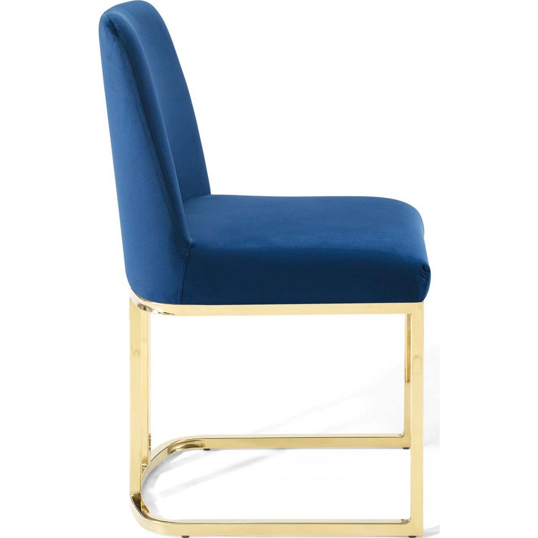 Dining Chair In Navy Velvet & Gold Base - image-1