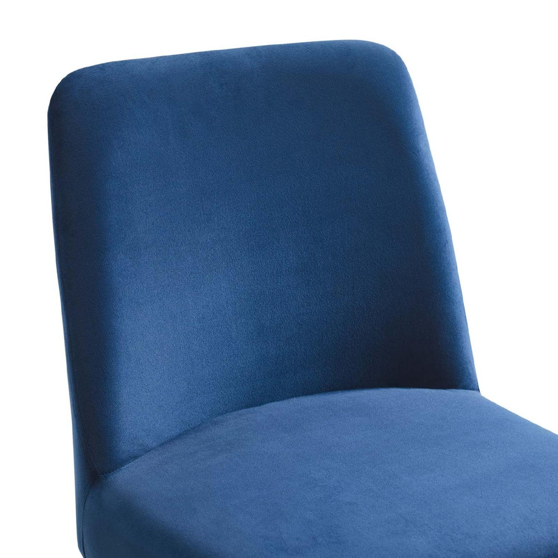 Dining Chair In Navy Velvet & Gold Base - image-4