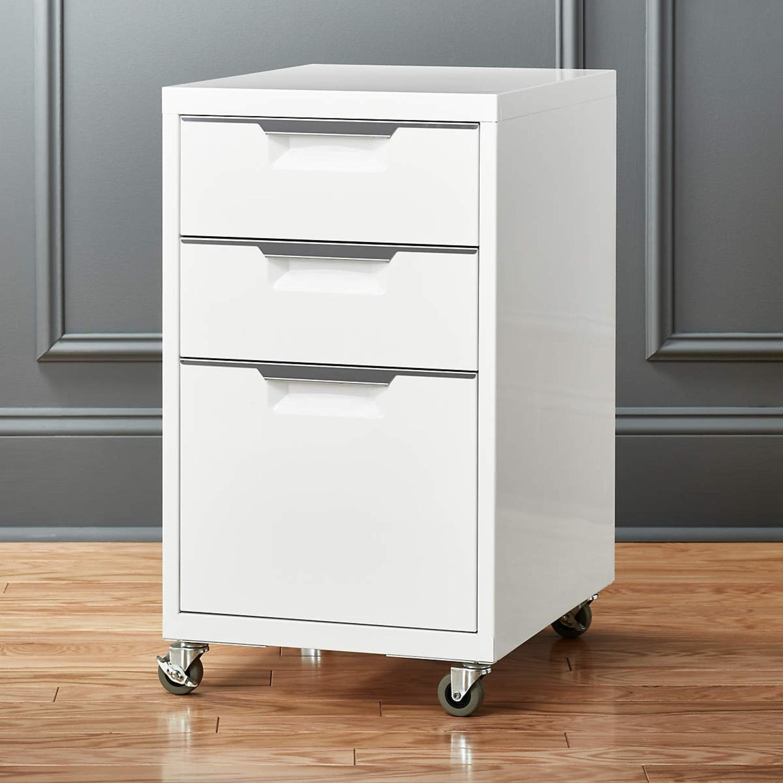 CB2 White 3-Drawer Filing Cabinet - image-1