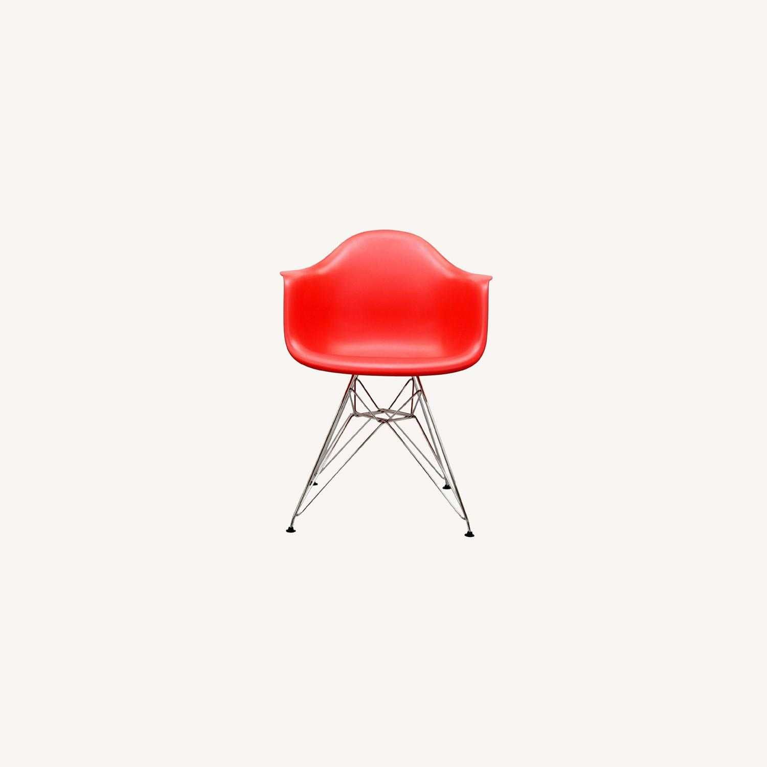 Modern Dining Chair In Red Finish W/ Steel Base - image-5