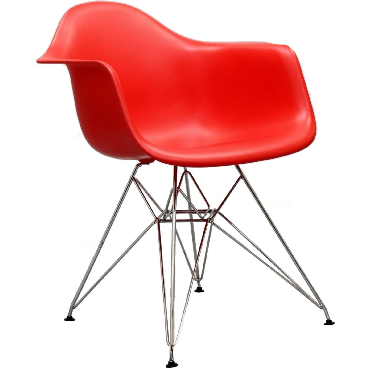 Modern Dining Chair In Red Finish W/ Steel Base - image-0