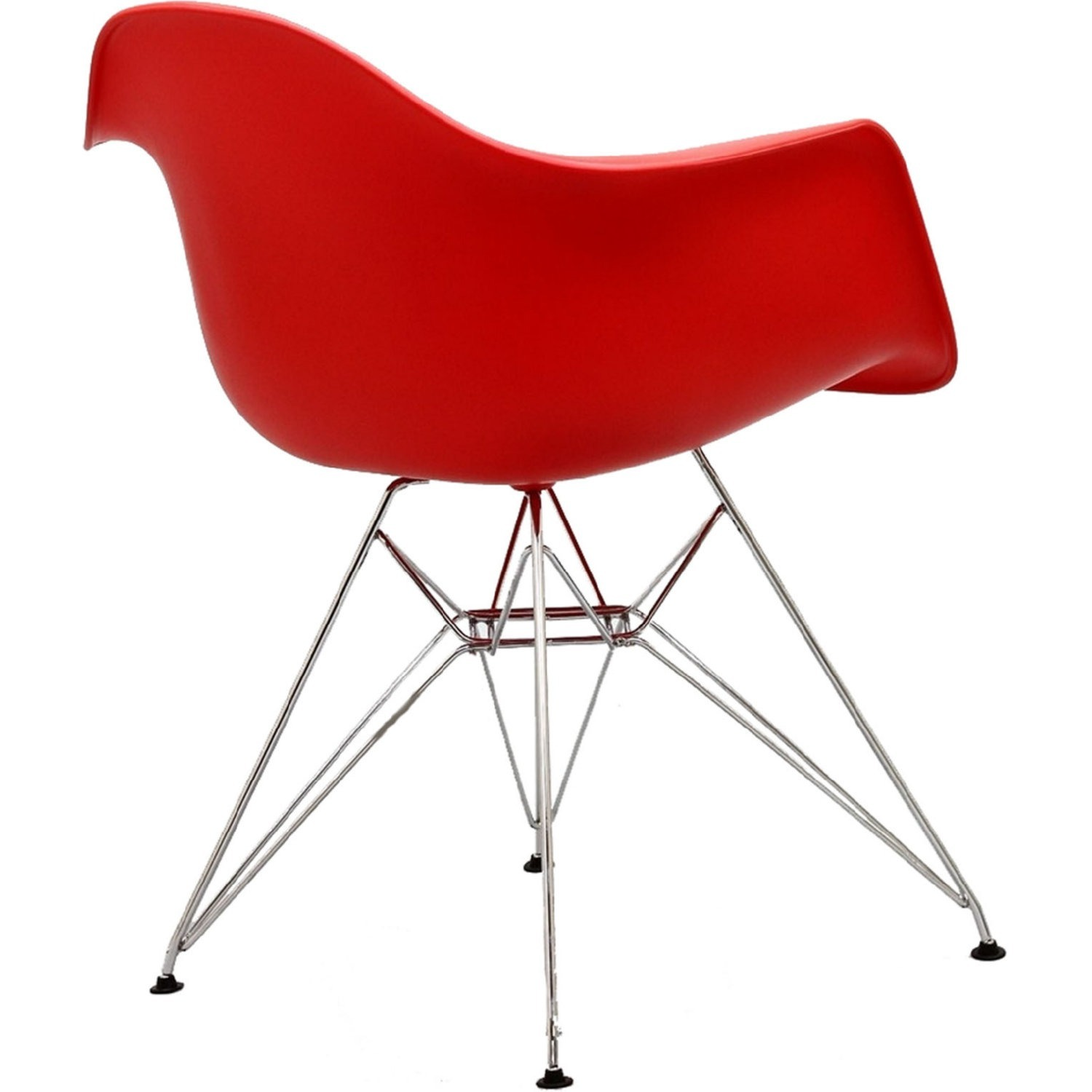 Modern Dining Chair In Red Finish W/ Steel Base - image-3