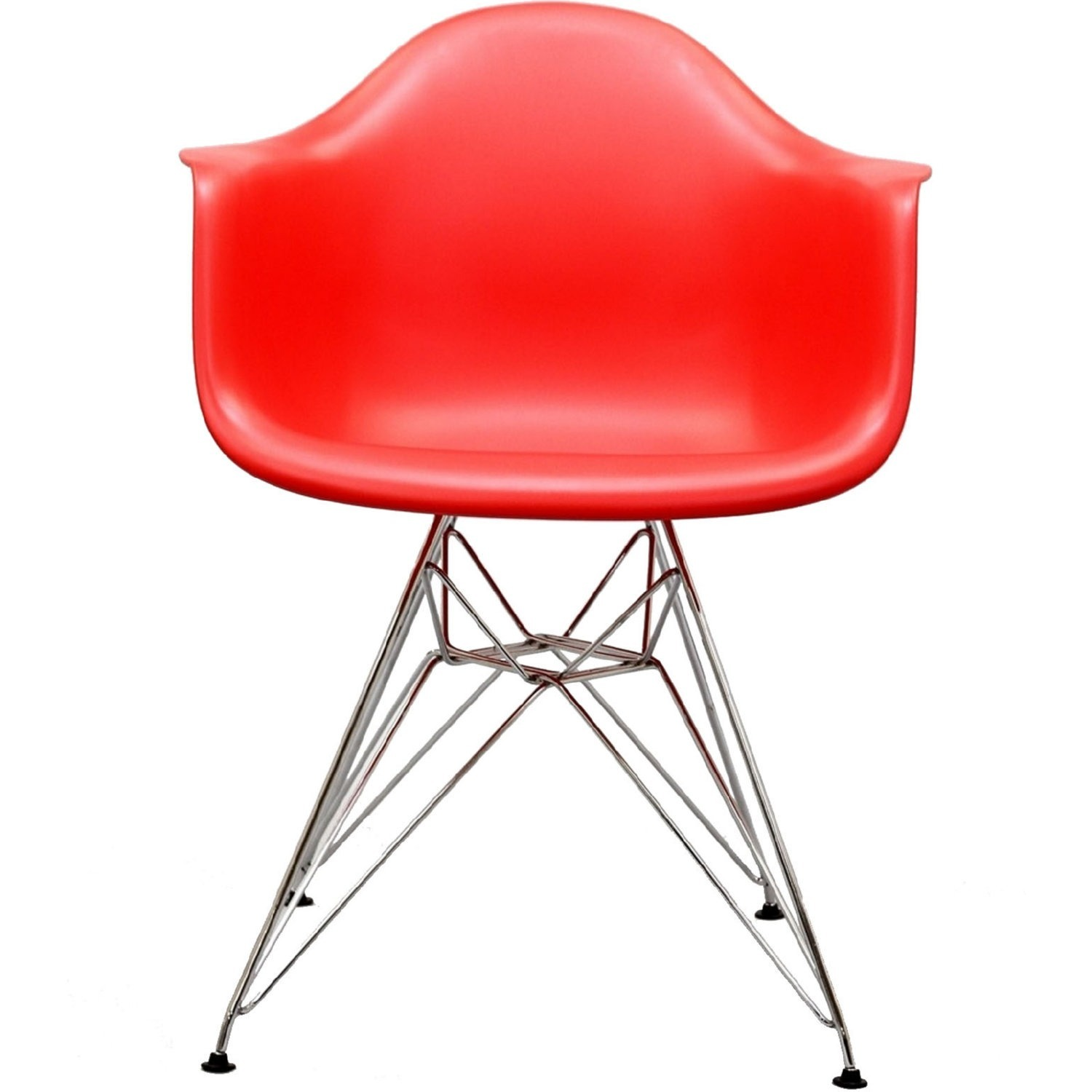 Modern Dining Chair In Red Finish W/ Steel Base - image-2
