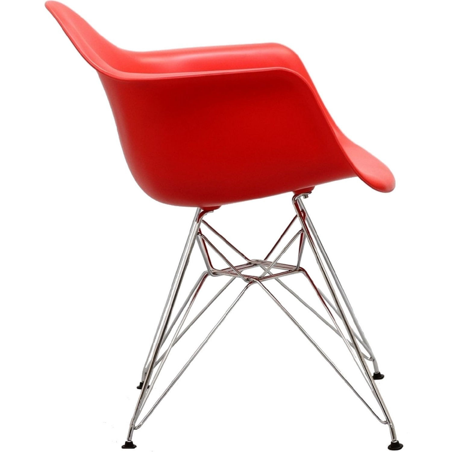 Modern Dining Chair In Red Finish W/ Steel Base - image-1