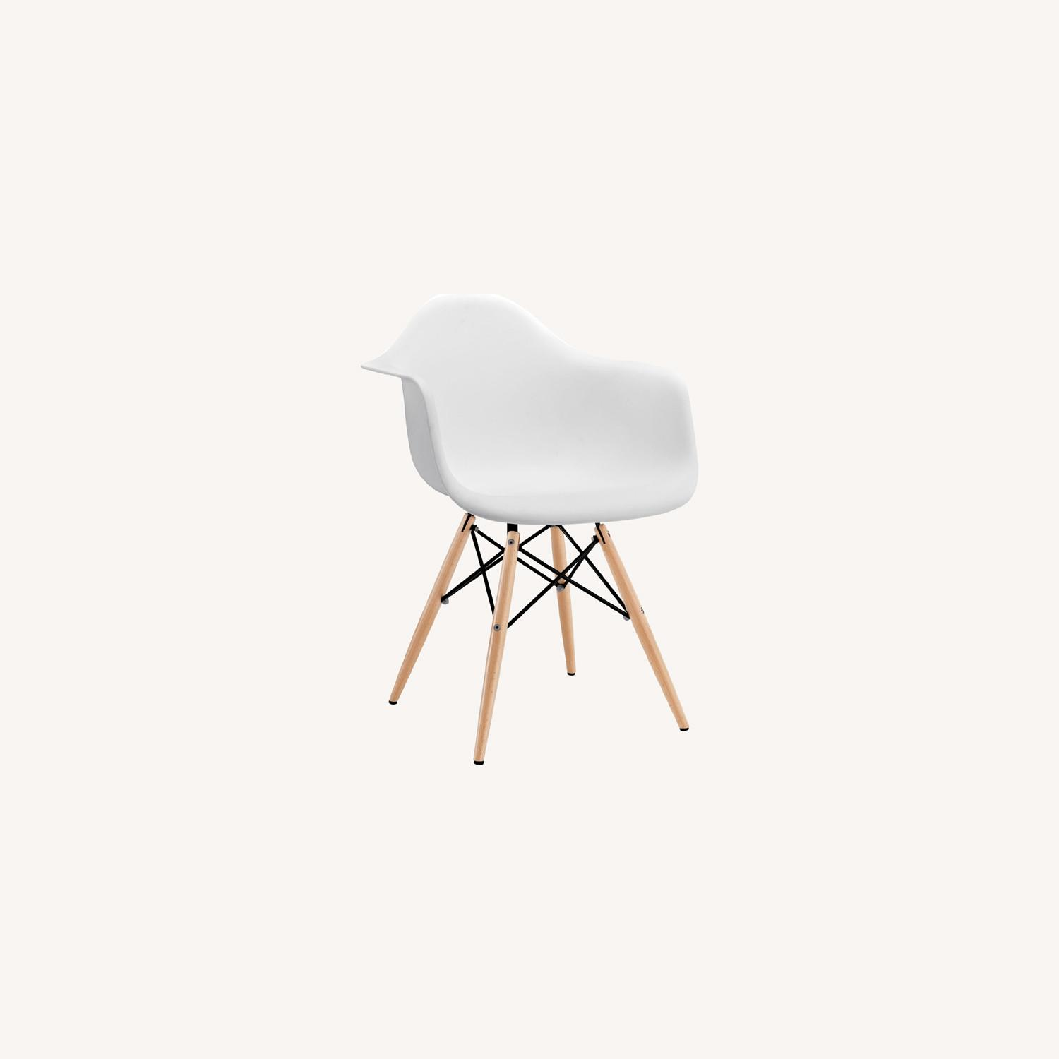 Modern Dining Armchair In White & Wood Base - image-5