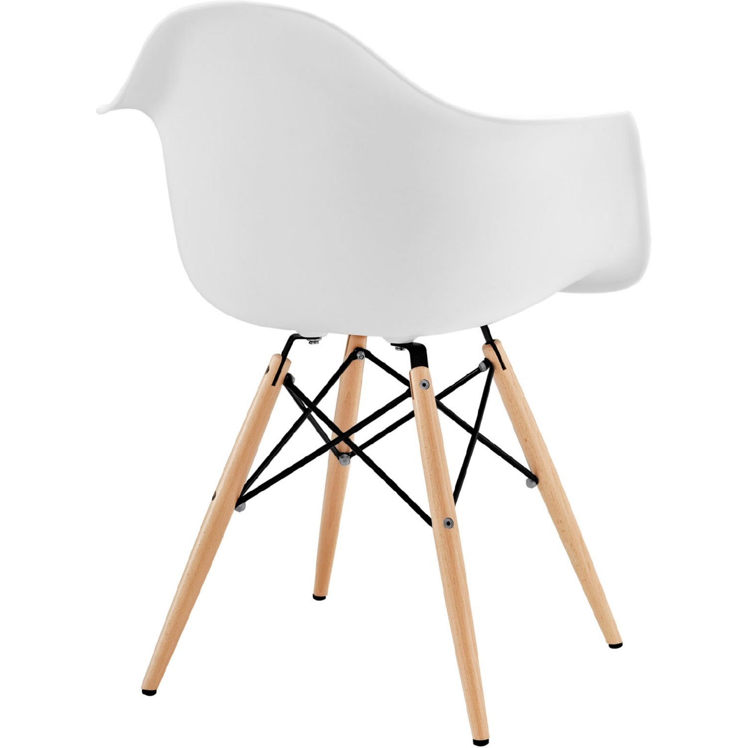 Modern Dining Armchair In White & Wood Base - image-2