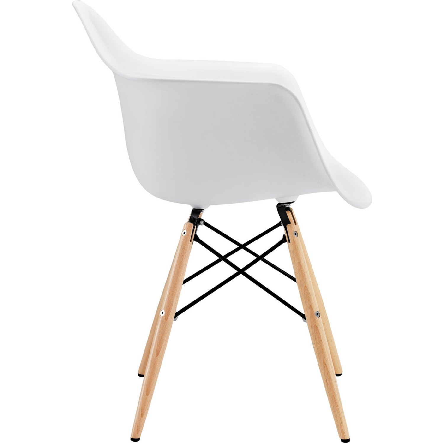 Modern Dining Armchair In White & Wood Base - image-1